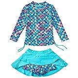 Bathing Suits for Girls Mermaid Rash Guard Swimsuit Two Piece Swimwear 5-6T