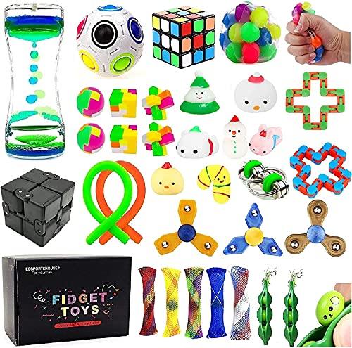 Juego de 32 juguetes sensoriales para aliviar el estrés y aliviar el estrés para niños adultos, bolsas de calcetines, recompensas en el aula escolar, carnaval, fiestas, tesoros, bolsas de Pinata Goodie