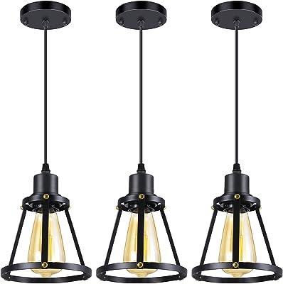 Industrial Pendant Lighting, Vintage Pendant Light Fixture, Adjustable Hanging Light Fixture, Metal Black Farmhouse Pendant Light, Pendant Ceiling Lamp for Kitchen Island Living Room, E26 Base, 3-Pack