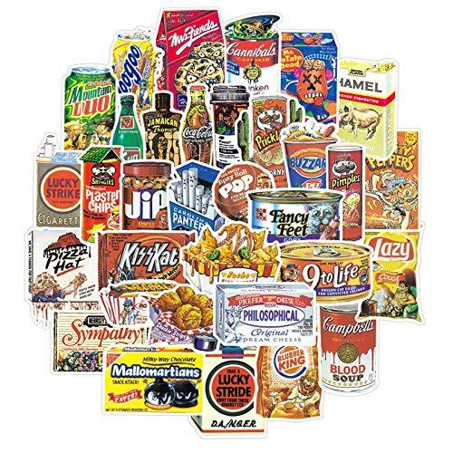 YMSD Spoof Lebensmittel-Graffiti-Aufkleber, wasserdicht, für Trolley, Koffer, Gepäck, Roller, Laptop, Kühlschrank, 37 Stück
