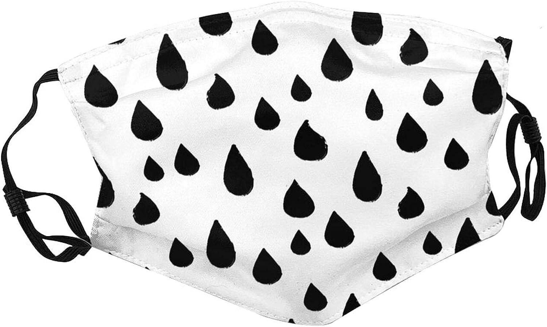 Big rain drops black and white Black Dust Reusable Face Mask Balaclava, Fashion Breathable Adjustable Masks For Men & Women