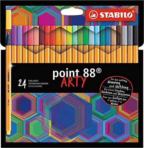 Fineliner - STABILO point 88 - ARTY - 24er Pack mit Hängelasche - mit 24 verschiedenen Farben