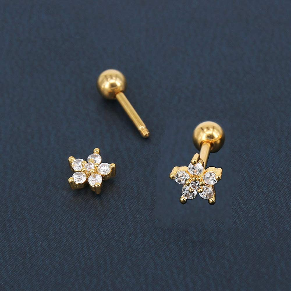 Formissky 16G CZ Cartilage Stud Earrings Upper Lobe Helix Tragus Piercing Jewelry Surgical Steel Screw Dangle Earring