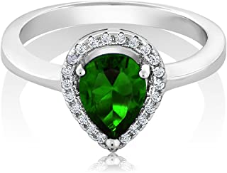 2.54 Ct Pear Shape Green Nano Emerald 925 Sterling Silver Ring (Size 8)