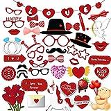 HOWAF Boda Photo Booth Props Cabina de Fotos Accesorios Photocall San Valentín Divertido DIY Kit para Adultos Mujeres Hombre Máscaras Gafas Boda San Valentín Decoración (42Pcs)