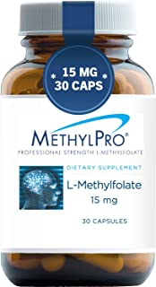 MethylPro 15mg L-Methylfolate (30 Capsules) - Professional Strength Active Methyl Folate, 5-MTHF Supplement for Mood, Homo...