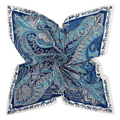 ICEIVY Damen Schal, Halstuch Kopftücher Schal Frauen Sonnenschutz Seidenschal Business Silk Seidentuch Scarf,Bandana,Taschentuch,Ansatz Handgelenk Verpackungs(Blaue Farbe(130 x 130 cm))