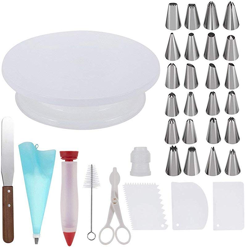 Cake Decorating Kit Cake Decorations Cake Turntable Cake Decorating Tools Baking Spatula Piping Bag Baking Piping Tools Reusable Silicone Complete Cake Decorating Set