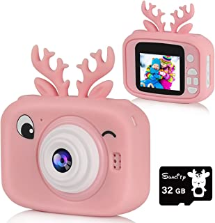 Suncity Girl Gifts Toys Kids Digital Camera for Age 2 3 4 5 6 7 8 9 10 Video Camera 2 Inch Screen with 32GB Card Reindeer Camera Case for Toddlers Christmas Birthday Holiday Present,Pink
