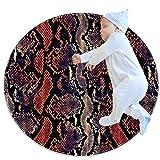 AIBILI Alfombra redonda de algodón, lavable, elegante, para sala de estar, dormitorio, piel de pitón, serpiente