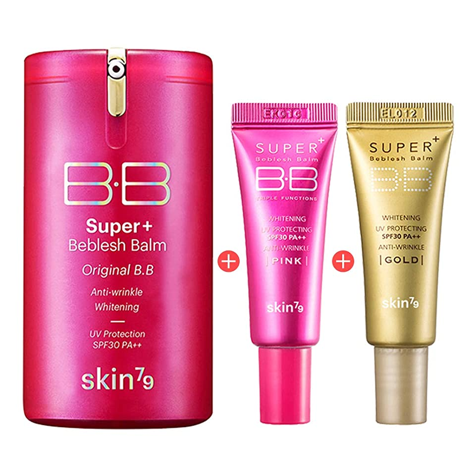 [SKIN79] Pink Super Plus BB Cream 3psc Set - Pink BB 1.35 fl.oz. (40ml) + Pink BB (7g) + Gold BB (7g) by SKIN79 Official