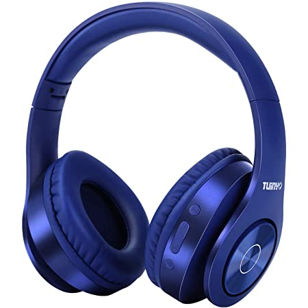 Bluetooth Headphones Wireless,TUINYO Over Ear Stereo Wireless Headset 35H Playtime with deep bass, Soft Memory-Protein Earmuffs, Built-in Mic Wired Mode PC/Cell Phones/TV-Dark Blue
