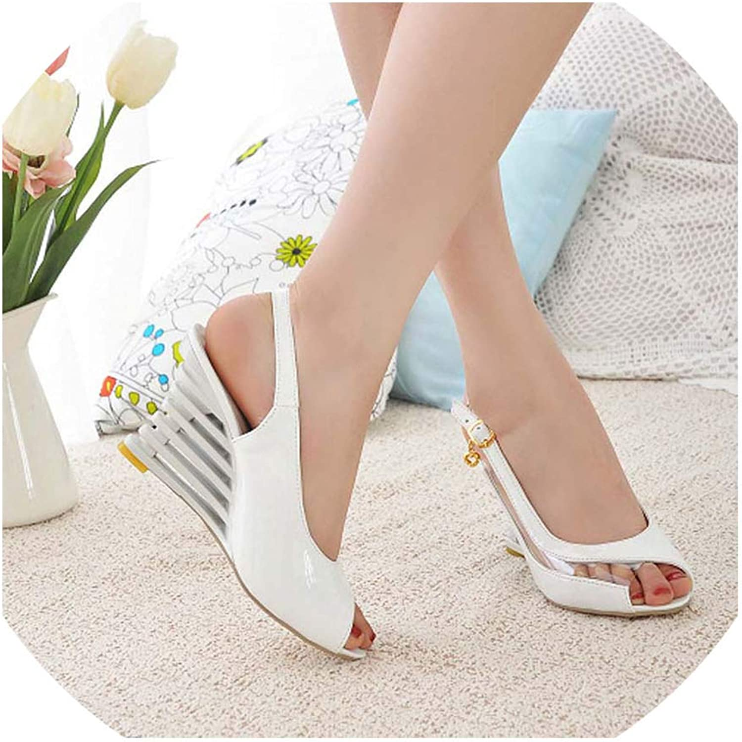 Pretty-sexy-toys Slope Heel Sandals Button Open Toe shoes Transparent Women's Summer shoes