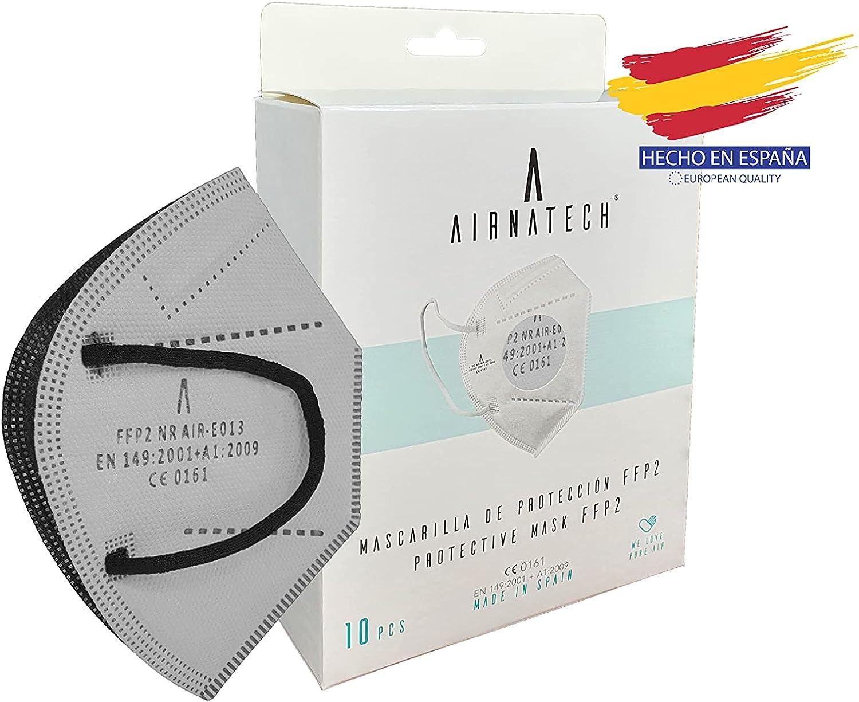 A AIRNATECH Mascarillas FFP2 GRIS pack de 10 unidades. Marcado CE0161 Homologadas - Normativa EN149: 2001+A1: 2009 - 5 Capas de 95% Filtración - Mascarilla ffp2 protección respiratoria
