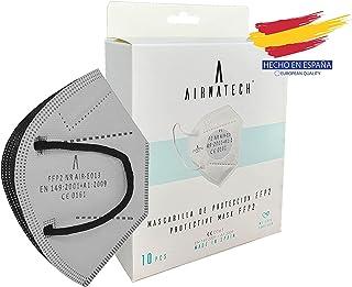 A AIRNATECH Mascarillas FFP2 GRIS pack de 10 unidades. Marcado CE0161 Homologadas - Normativa EN149: 2001+A1: 2009 - 5 Cap...