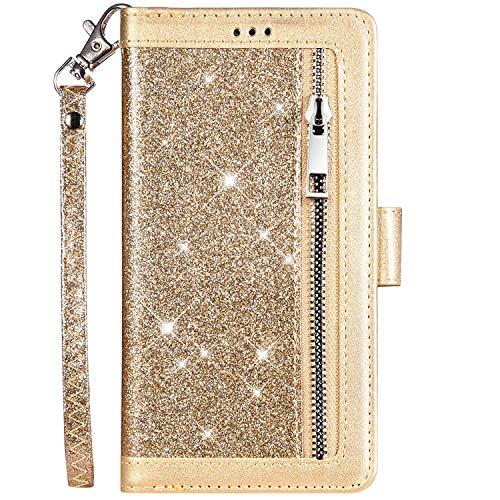 QPOLLY Kompatibel mit Samsung Galaxy J3 2017 J330 Hülle Leder Flip Bling Glitzer,Premium PU Leder Handytasche Glänzend Diamant Kristall Ständer Brieftasche Wallet Handyhülle mit Kartenhalter,Gold