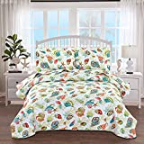 3-Piece Colorful Seashell Lightweight Quilt Set,Beach Themed Cottage Reversible Bedspread Coverlet,Vivid Seascape Image Coral Starfish Scallop Printed Bed Cover Seaside Bedding Set (Yellow,Full/Queen)