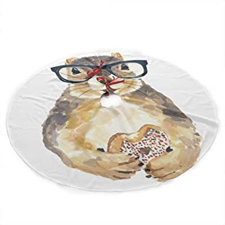 UYRHFS Nerdy Squirrel with Glass and Dessert.png Christmas Tree Skirt 36 Inch Christmas Decoration New Year Party Supplies