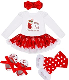 Baby Girls First Christmas Outfit Costumes Romper Bodysuit Leg Warmer Shoes Headband Party Dress