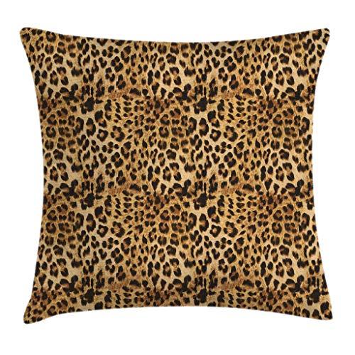 MZZhuBao Funda de almohada marrón con estampado de leopardo, impresión de animales, estampado digital de safari, estampado de leopardo, funda de almohada decorativa, 50 x 50 cm, color marrón