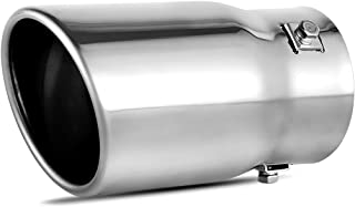 AUTOSAVER88 2-2.5 Inch Adjustable Inlet Exhaust Tip, Bolt On Chrome Polished Stainless..
