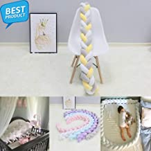 1Pcs 1M/2M/3M Baby Handmade Knot Newborn Bed Bumper - Long Knotted Braid Pillow - Baby Bed Bumper Knot Crib Infant Room Decor (Blue 1M)