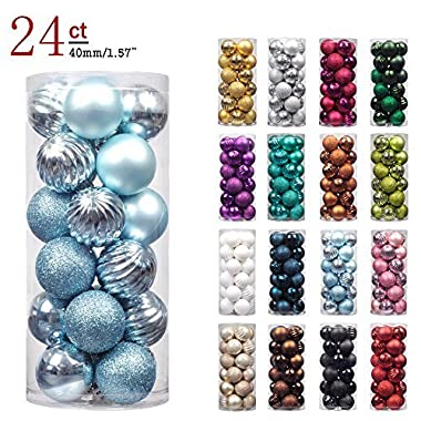 "KI Store 24ct Christmas Ball Ornaments Shatterproof Christmas Decorations Tree Balls Pastel Small for Holiday Wedding Party Decoration, Tree Ornaments Hooks included 1.57"" (40mm Baby Blue)"