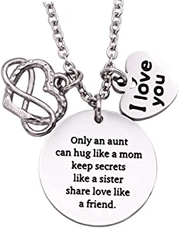 Aunt Gifts from Nephew Aunt Necklace with I Love You Charm Aunt Necklace - I Love You Necklace Stainless Steel