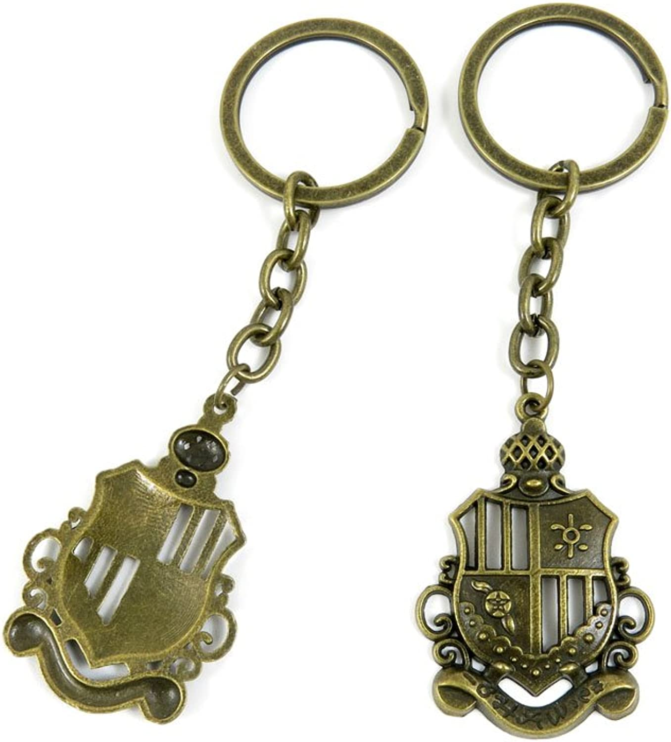 100 PCS Keyrings Keychains Key Ring Chains Tags Jewelry Findings Clasps Buckles Supplies H1OE5 Crown Shield