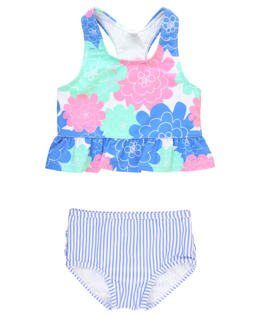 RuffleButts Girls Cropped Peplum Tankini 2 Piece Swimsuit w//Ruffles