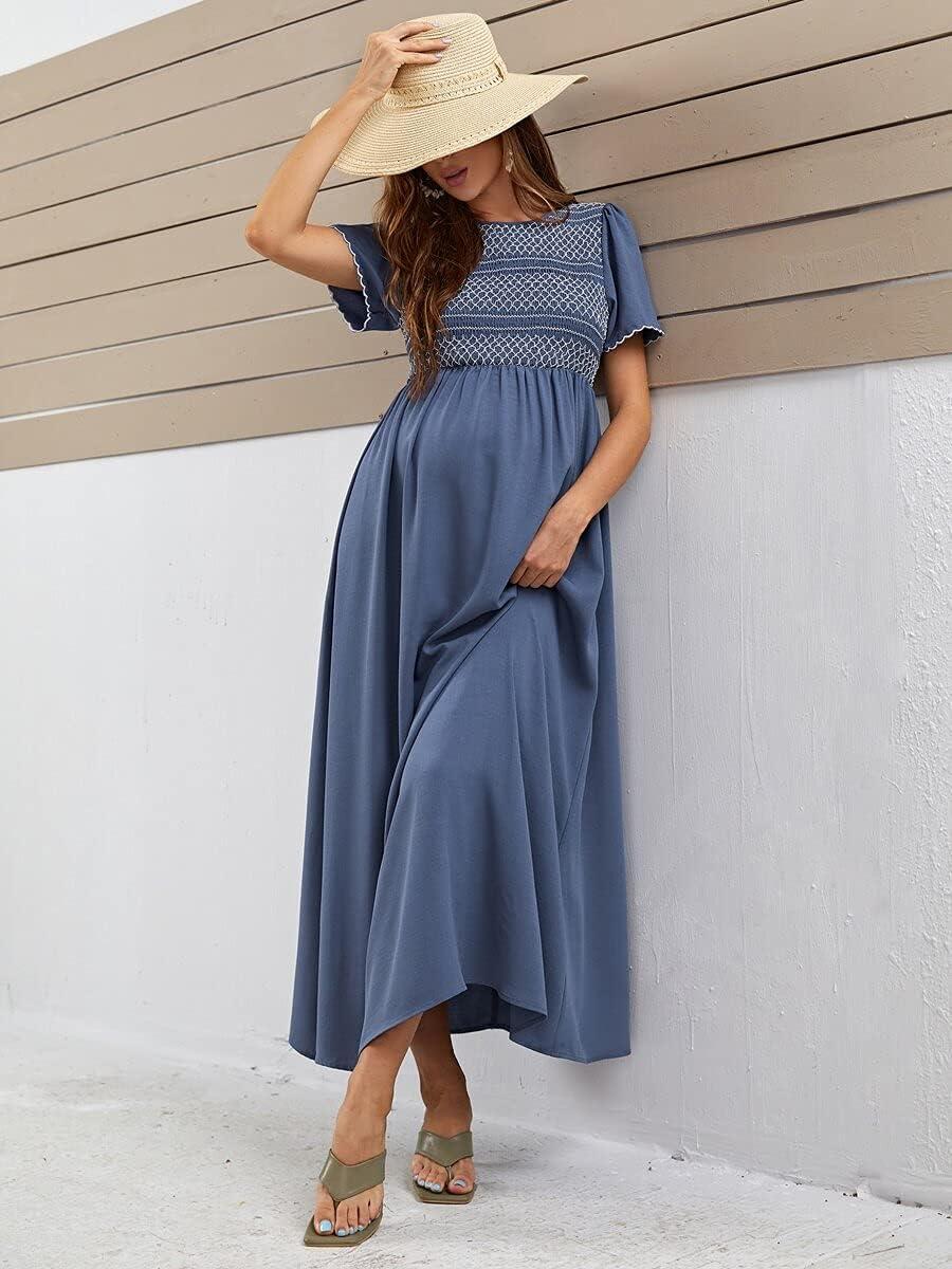 Shreem85 Maternity Dress Keyhole Wavy Sleeve Back Classic Edge Same day shipping