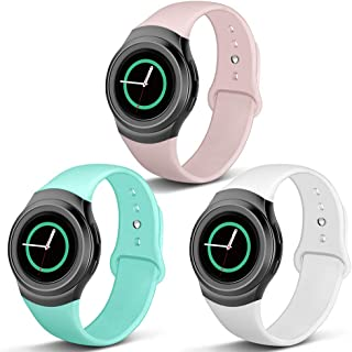 NAHAI Compatible with Gear S2 Band, 3 Packs Soft Silicone Straps Sport Bands Adjustable Replacement Wristband Watch Bracelet for Samsung Gear S2 Smartwatch, Large Small