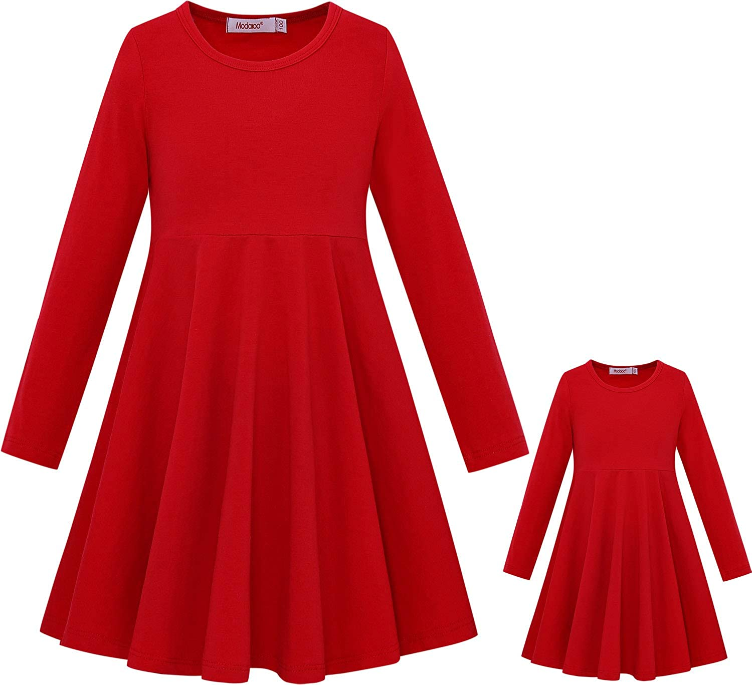ModaIoo Matching Dolls & Girls Long Sleeve Dress,A-Line Skater Twirly Casual Solid Dresses for Kids
