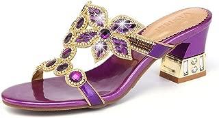 Womens Sexy Bling Rhinestone Strappy Block Heel Slides Wedding Dress Sandals