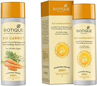 Biotique Bio Carrot Face Sun Lotion Spf 40 Uva/Uvb Sunscreen For All Skin Types In The Sun,19 and Biotique Bio Sandalwood Sunscreen Ultra Soothing Face Lotion, SPF 50+, 120ml