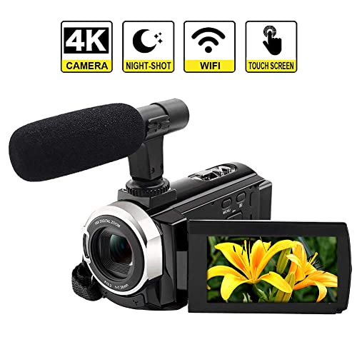 """LINNSE 4K Camcorder Camera WiFi Video Camera 48MP Digital Camera 3.0"""" Touch Screen Night Vision Pause Function with microphone"""