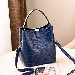 Redland Art Vioaplem Fashion PU Leather Top Handle Bag Satchel Shoulder Messenger Corssbody Bucket Handbag for Women (Color : Blue)