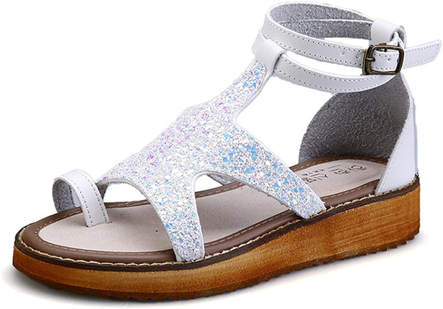 Womens Summer Fashion Sequins Open Toe Platform Sandals