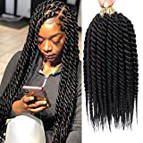 6 Packs 12 Inch Havana Twist Crochet Senegalese Twist Crochet Hair Braids Synthetic Braiding Hair Extension (12inch, 1B)