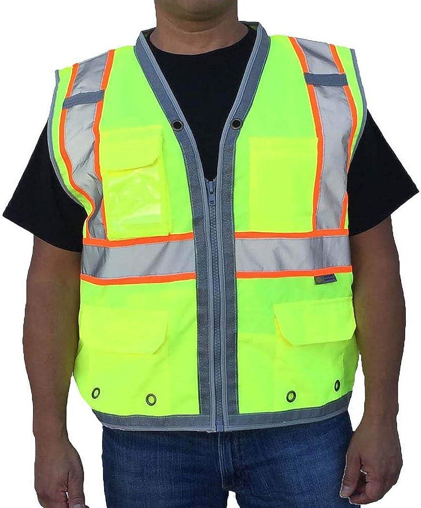 3C Products SV2700, ANSI/ISEA Class 2, Surveyor Safety Vest, Reflective w/Orange Binding, 9 Pockets (iPAD), Neon Green