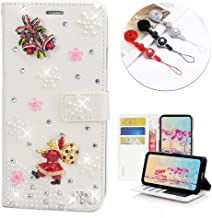 STENES Bling Wallet Case Compatible Google Pixel 2 XL - Stylish - 3D Handmade Santa Claus Bell Floral Design Leather Cover with Neck Strap Lanyard [3 Pack] - White
