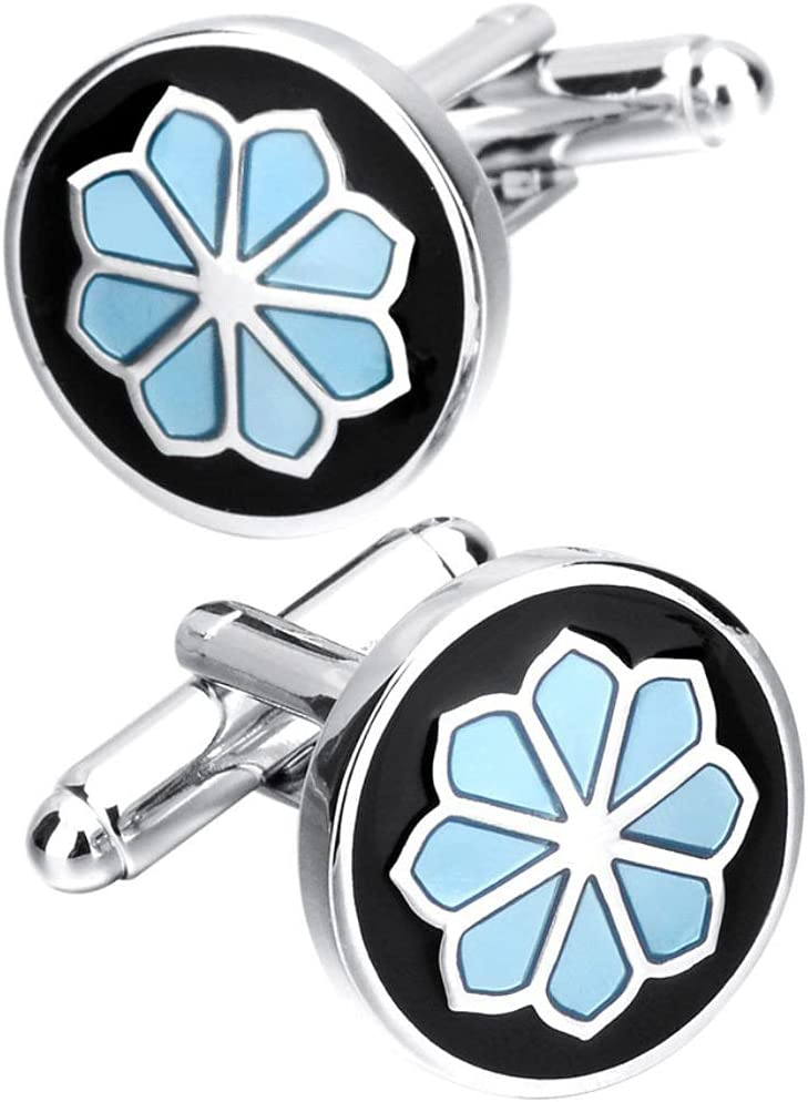 BO LAI DE Men's Cufflinks Black Round Blue Flower Cuff Links Suitable for Business Events, Meetings, Dances, Weddings, Tuxedos, Formal Shirts, with Gift Boxes