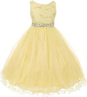 Glitter Rhinestone Shiny Tulle Beaded Sequin Easter Flowers Girls Dresses