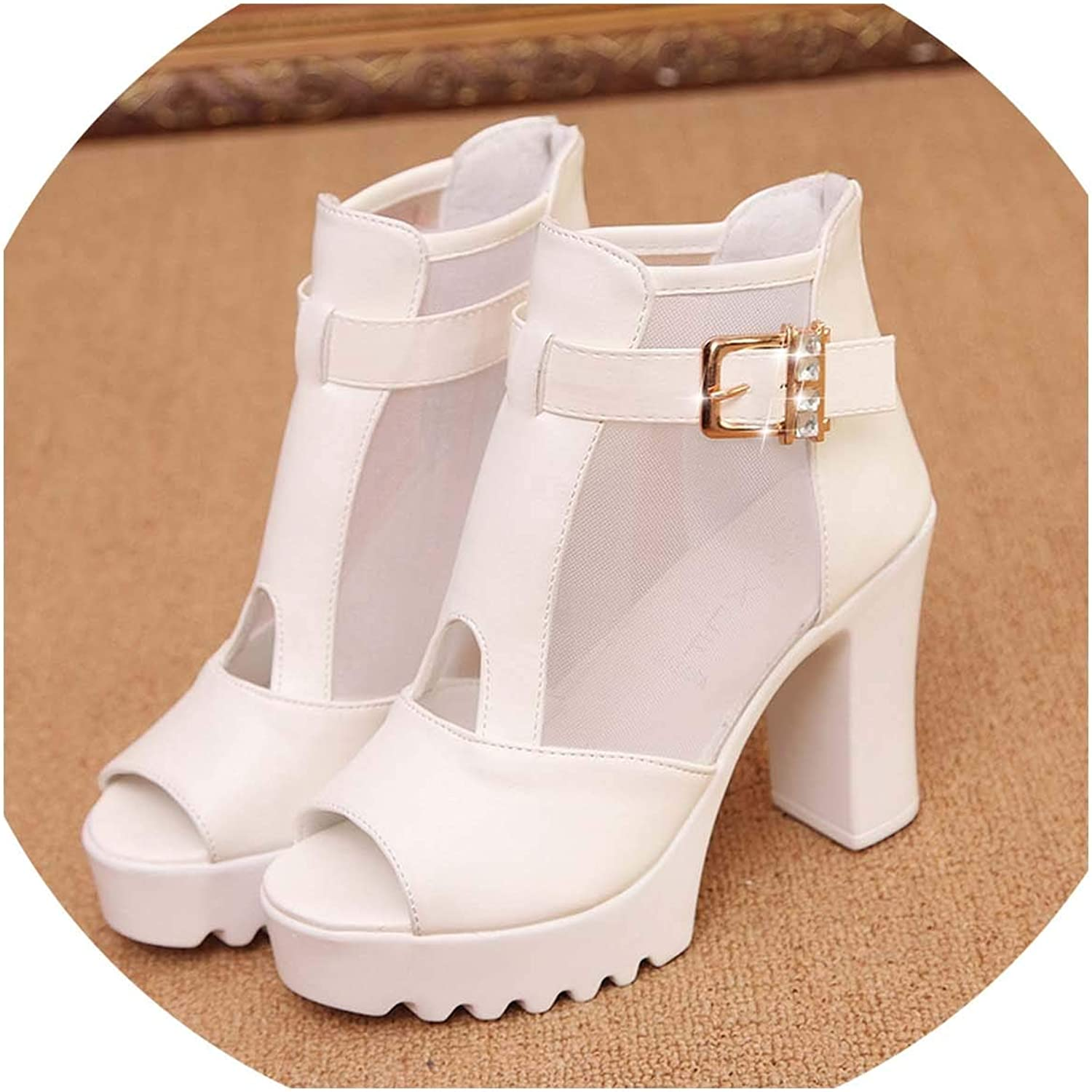 HuangKang Middle Heel Sandals Female Summer New Cross Straps Roman shoes One Buckle Student Thick with Sandals