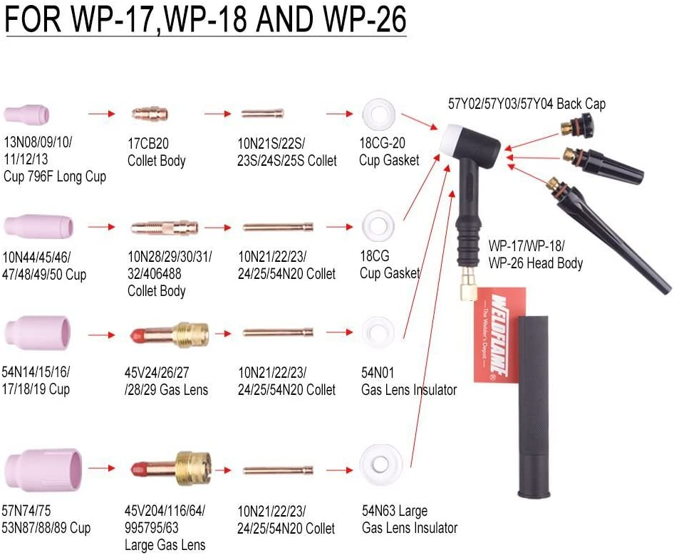 Pencil Weldflame 200A Air-Cooled Head Body 26P TIG Welding Torch 26 Series
