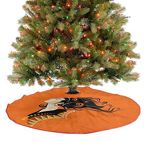 Homesonne Moderna falda de árbol joven moda retrato con detalles abstractos sobre pelo rizado naranja y pendientes decoración de fiesta va perfectamente con tu árbol multicolor de 91 cm