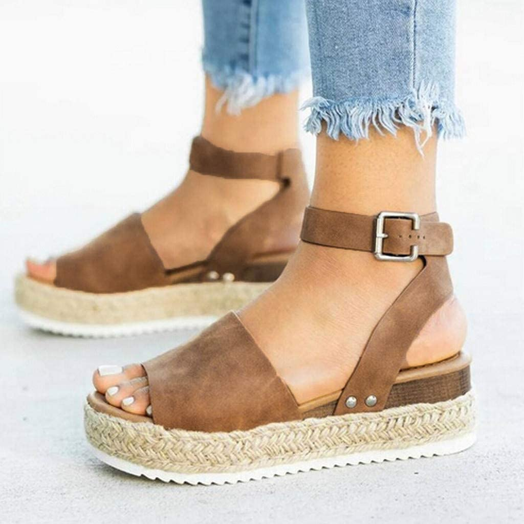 Goosuny Women's Open Toe Ankle Strap Espadrille Sandal Ankle Strap Open Toe Platform Sandals Comfort Thick Cork Buckle Summer Wedge Casual Sandal Shoes Brown