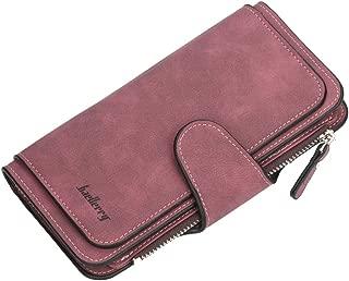 URBIUTF Large Capacity Wallet for Women PU Leather Clutch Bifold Card Holder Zipper Cash Purse, Claret Red