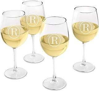 Personalized White Wine Glass Set of 4 - Engraved Wine Glasses - Circle Monogram