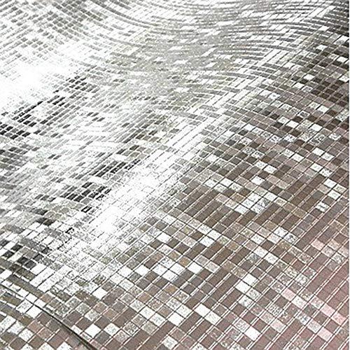 YAOHM Glitter Effet Miroir Mini mosaïque Étincelle refléter la lumière Feuille d'or Papier Peint Feuille d'argent Mur Papier revêtements muraux Texture gaufrée,Argent,0.53mx10m